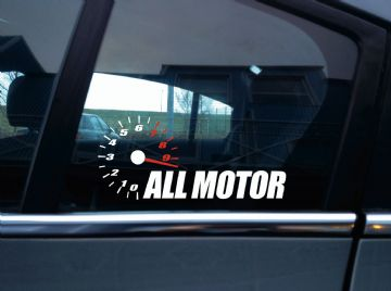 """ ALL MOTOR "" high rpm redline, NA naturally aspirated, JDM car Sticker"
